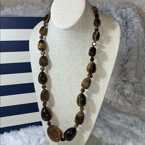 Barse tigers eye necklace heavy long 925